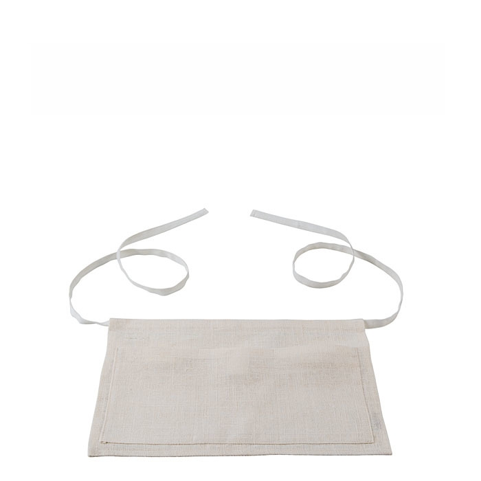 100% white raw linen 3 pockets apron