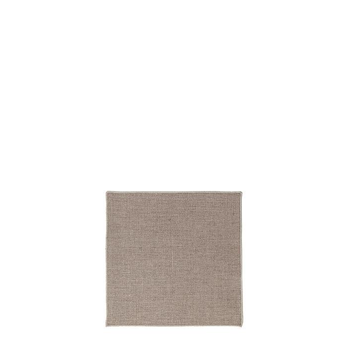 Serviette lisse 100% lin bord naturel 24 x 24 cm