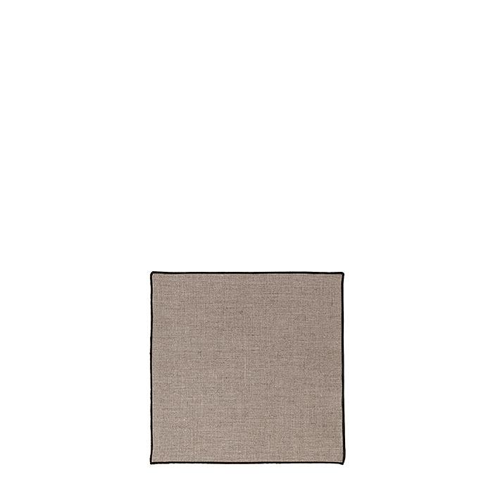 Serviette lisse 100% lin bord noir 24 x 24 cm