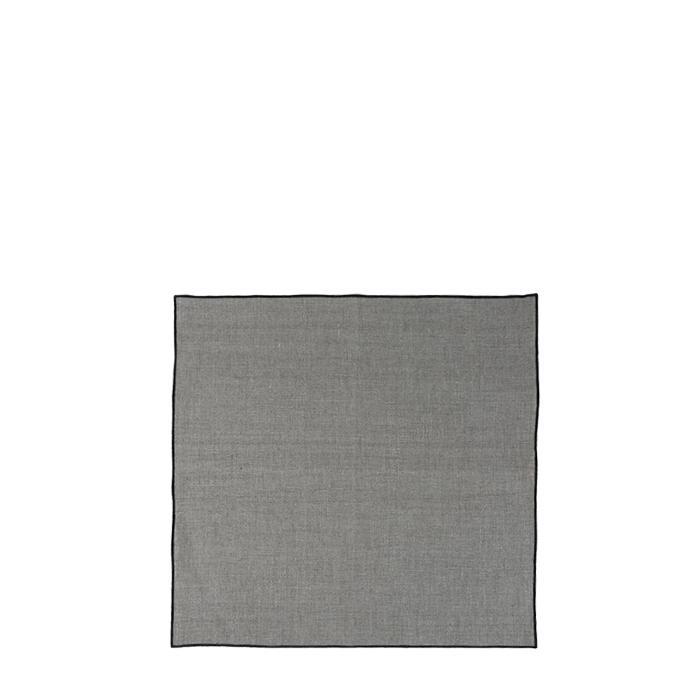 Serviette lisse 100%lin bordure noire 40 x 40 cm