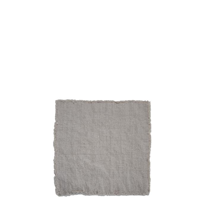 Serviette couleur naturelle 100% lin avec franges 26 x 26 cm