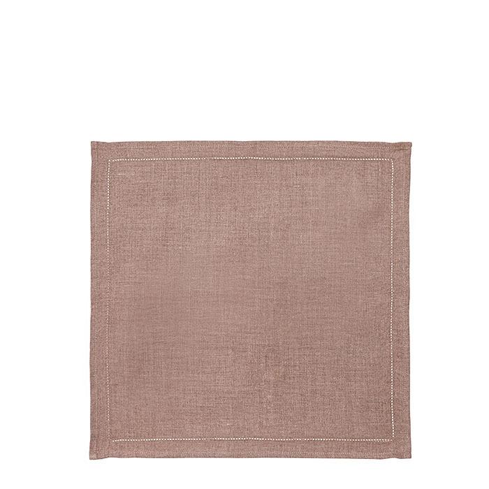 Serviette en 100%lin lisse ourlet a jour 45 x 45 cm