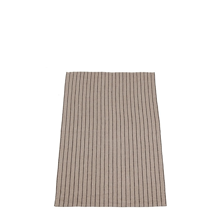 Torchon en 100%lin a rayures regul. naturel/noir 47x70 cm
