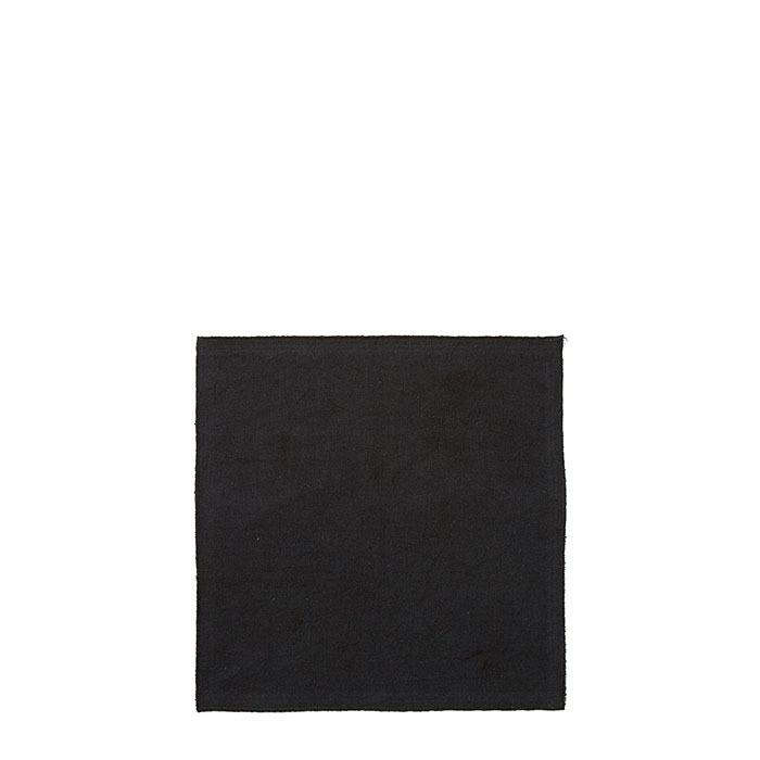 Serviette en coton noir point overlock 30 x 30 cm