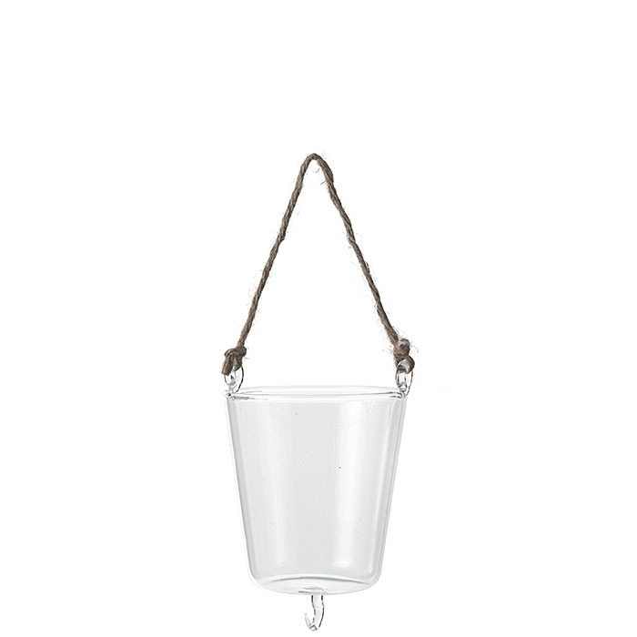 Vaso pensile in vetro con spago e gancio d10 h10 cm