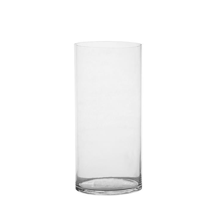 Vaso cilindrico in vetro trasparente d19 h40 cm