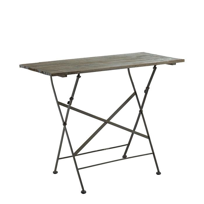 table bistrot rectangulaire pliable en bois et en fer