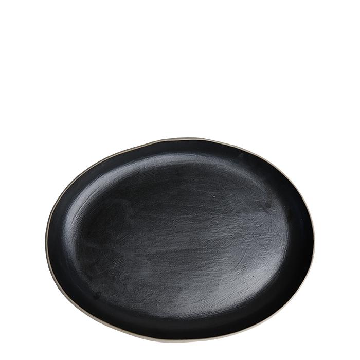 Piatto piano ovale in gres nero bordo naturale 21 x 28 cm