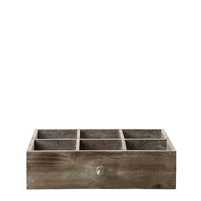 Wooden drawer with 6 compartments 28 x 38 h10 cm