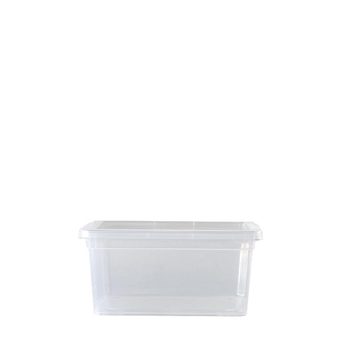 Scatola plastica trasparente con coperchio 19.5 x 16.5 h9.5 cm
