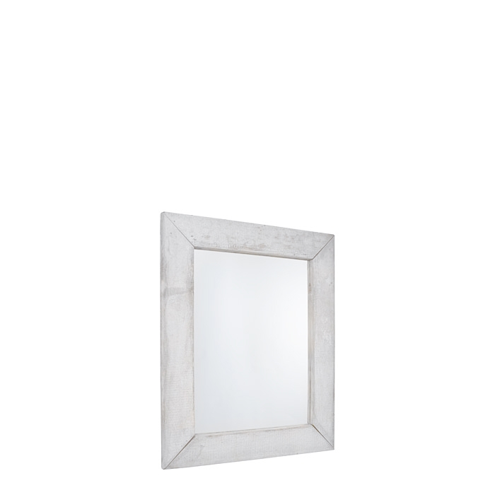 Miroir en bois brut couleur blanc 80 x 100 cm