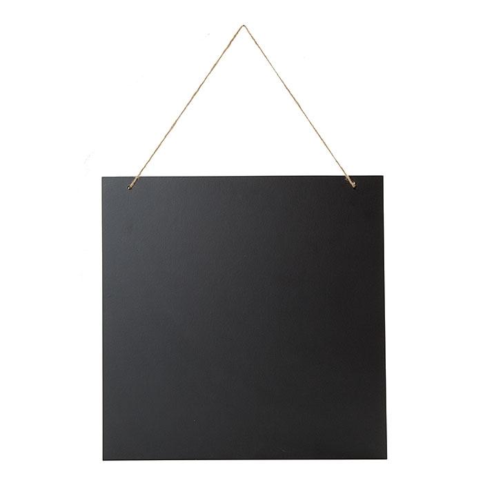 Tableau noir en bois avec corde et bords clairs 40 x 40 cm