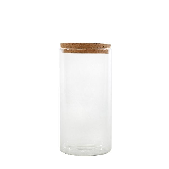 Barattolo in vetro borosilicato con tappo sughero v1100 ml d10 h20 cm