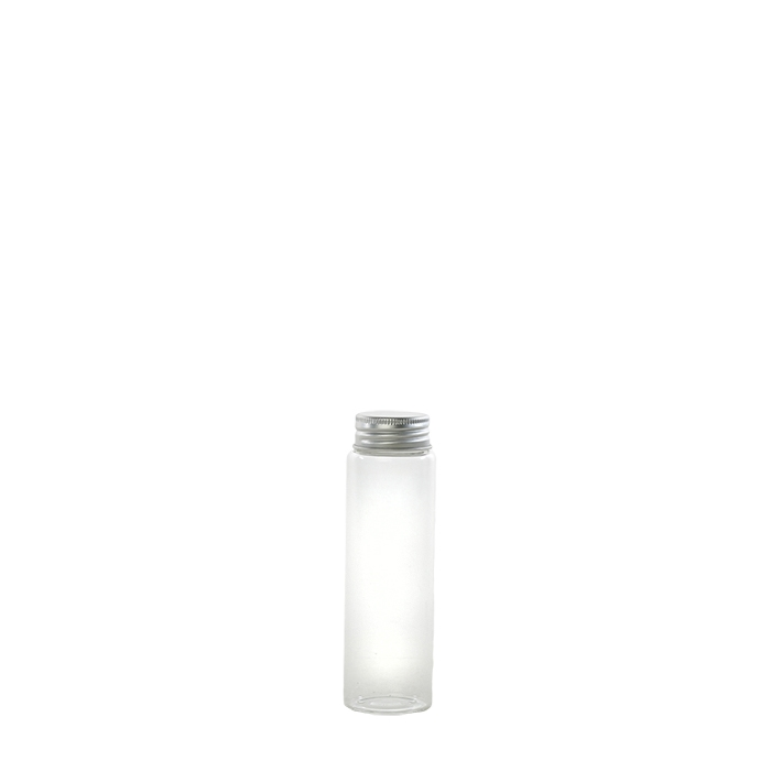 Fiala in vetro borosilicato con tappo in metallo v75 ml d3.5 h12 cm