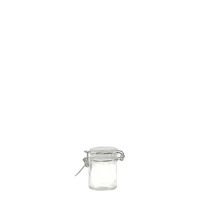 Cylindrical glass jar with clip 50ml d 4.5 h 6.5 cm