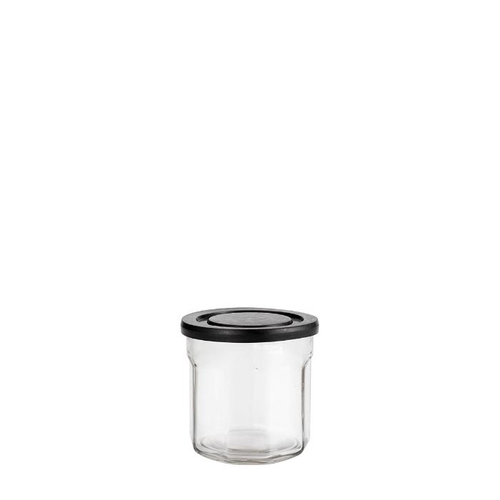 Contenitore in vetro coperchio di plastica nera v200 ml d9 h9 cm