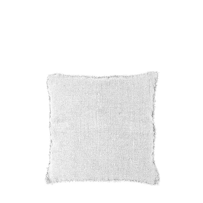 100% rough linen cushion cover with fringes cream colour 40x40 cm