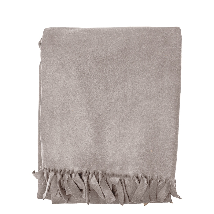 Maxi pile blanket colour linen with thin fringes 180 x 210 cm