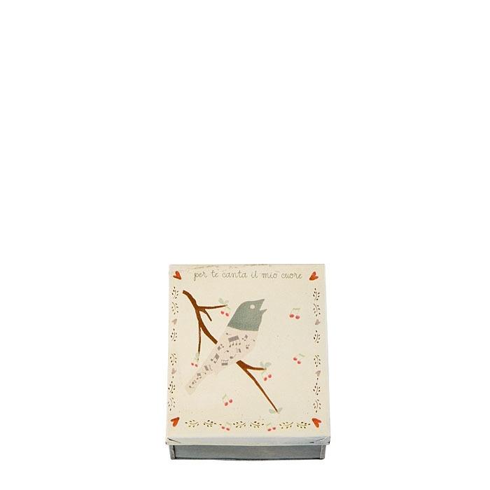 Tin box with bird 13 x 15 h7.5 cm