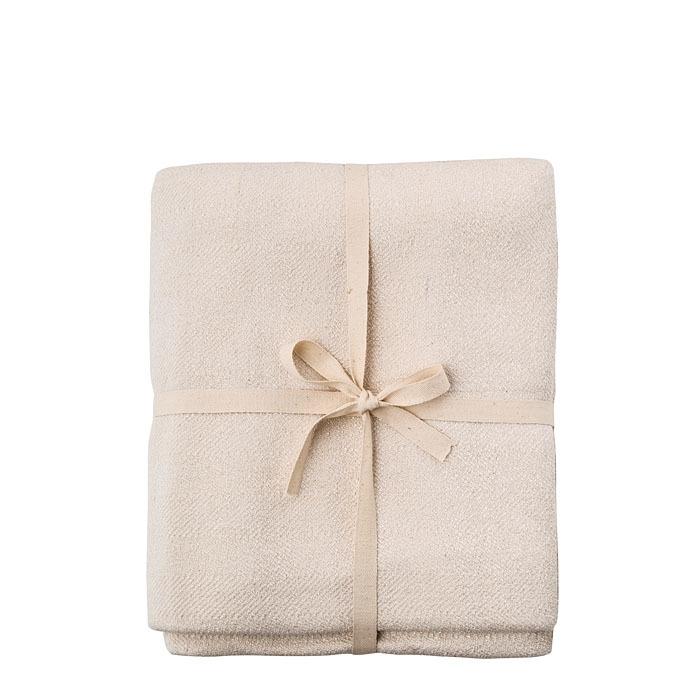Copriletto prezioso viscosa/cotone colore panna 250 x 270 cm