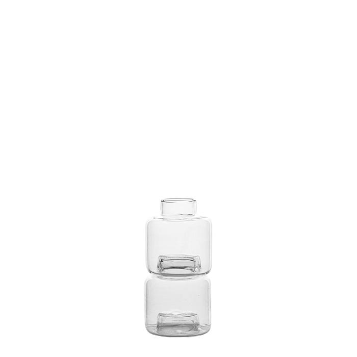 Set da 2 vasetti impilabili in vetro 5 cm