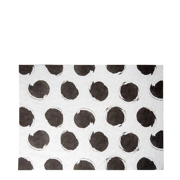 White placemat with black dots 75%pvc 25%polyester 33 x 45 cm