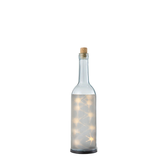 10 led lights transparent bottle white color with battery d8 h28 cm