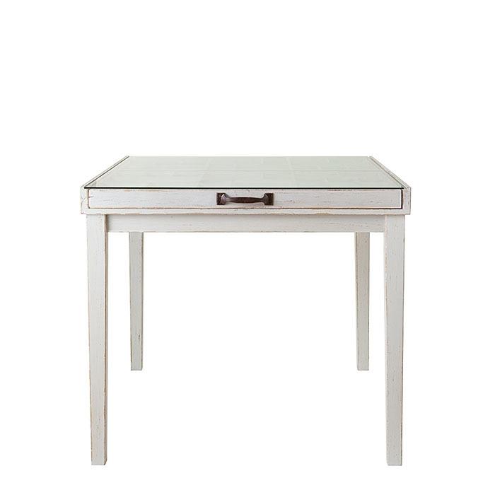 Tavolo espositivo in legno bianco e vetro 90.5 x 84.5 h78.5 cm