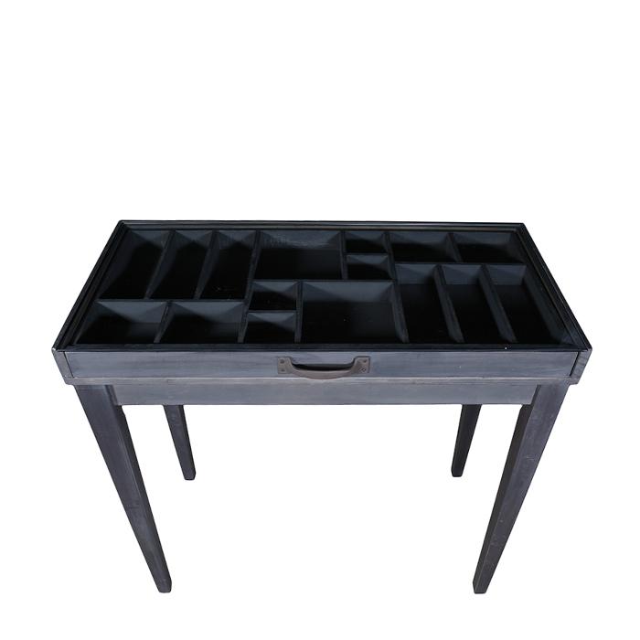 1/2 tavolo espositivo in legno naturale e vetro 44 x 85 h78.5 cm