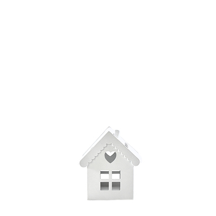 Lanterne en metal blanche en forme de maison 5 x 5 h8 cm