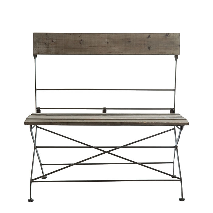 Bistrot wooden & iron folding bench 90 x 43 h93 cm