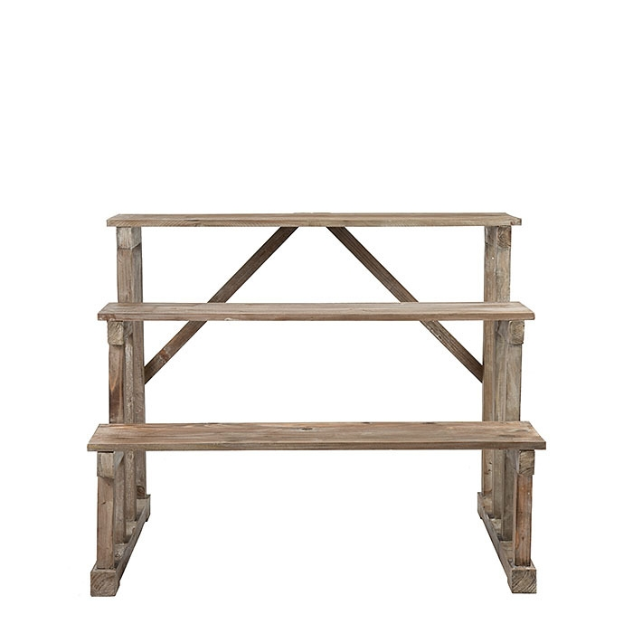 Expositive wooden bistrot structure with 3 shelves 100 x 70 h80 cm