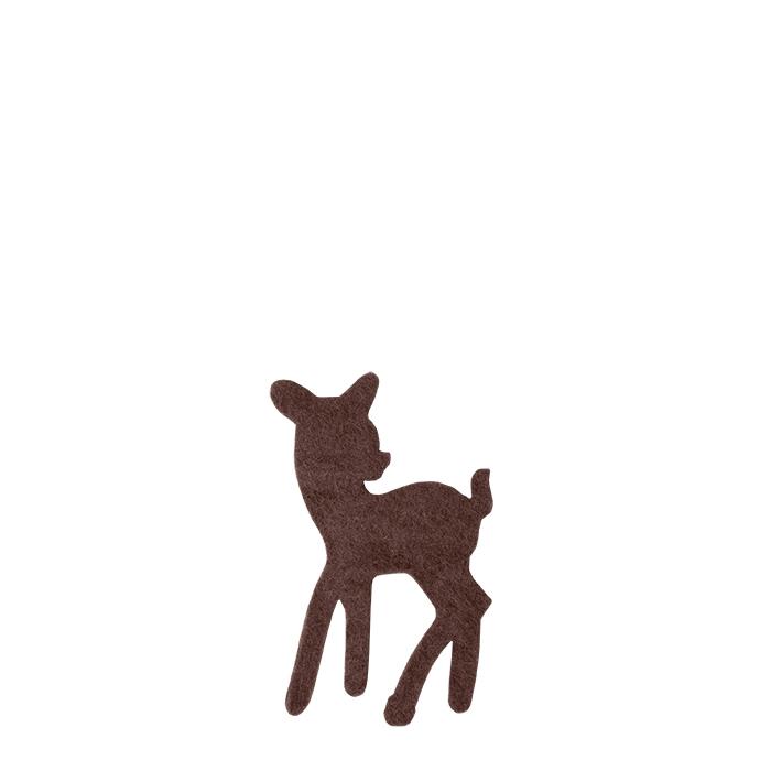 Set of 6 brown felt deers h12 cm