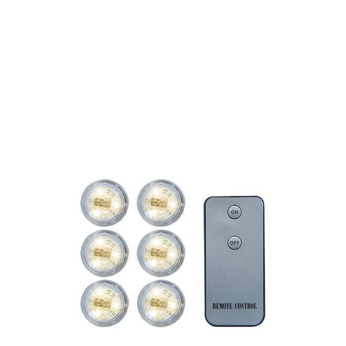 Set de 6 lumieres impermeables avec batterie et telecommande d3 h2.5 cm