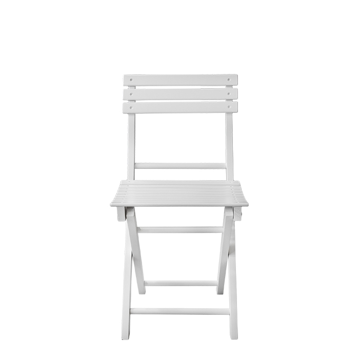 Folding white laquered wooden chair 33 x 39.5 h83 cm