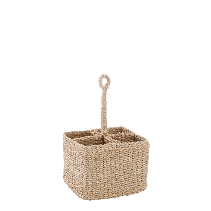 Small abaca basket 4 compartments rigid handle cream color