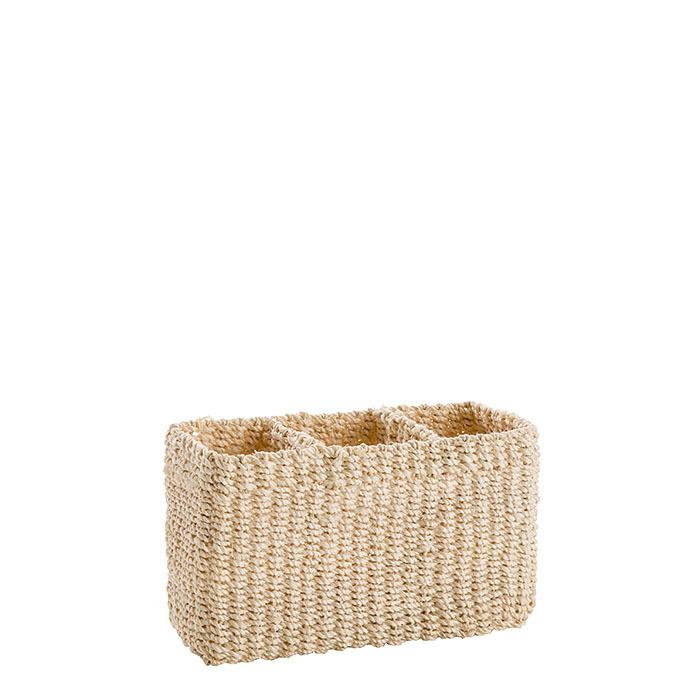 Abaca basket 3 compartments cream colour 19 x 7 h12.5 cm