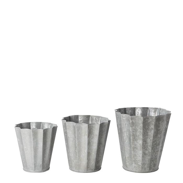 Assortimento 3 cache-pot in latta plisse h13 cm