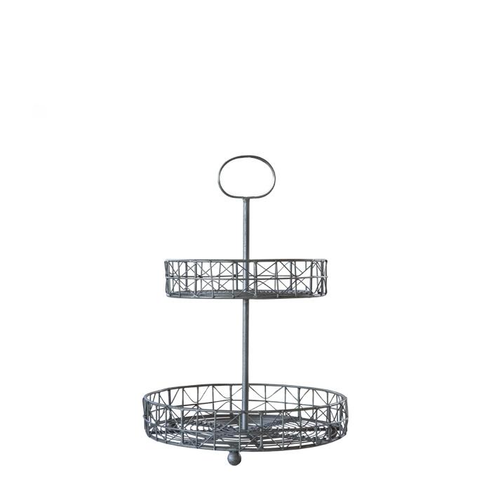 Alzata rete in ferro 2 piani d26 h36 cm