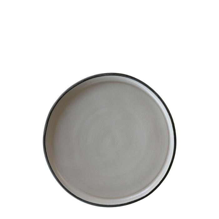 Piatto dessert in gres naturale bordo nero d19 cm