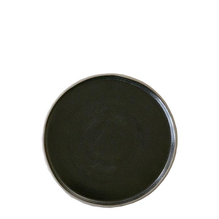 Piatto dessert in gres nero bordo naturale d19 cm