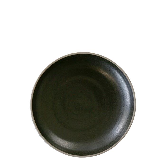 Piatto fondo in gres nero bordo naturale d20 cm