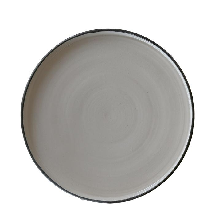 Piatto piano in gres naturale bordo nero d27 cm