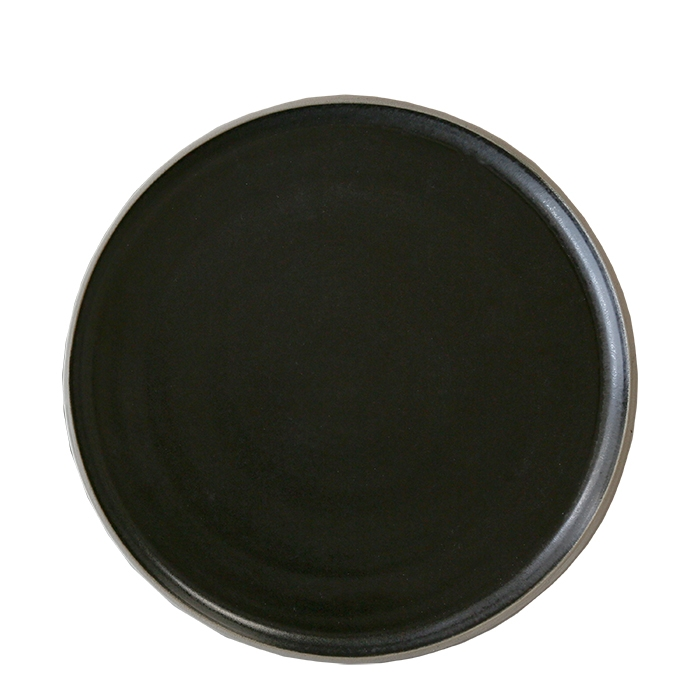 Piatto piano in gres nero bordo naturale d27 cm