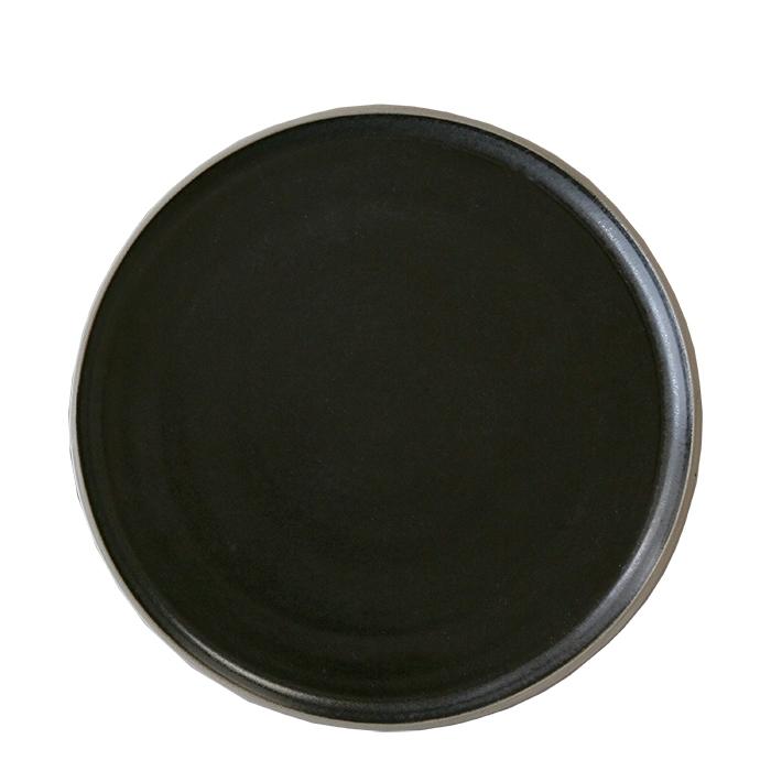 assiette plate en gres noir avec bord naturel. Black Bedroom Furniture Sets. Home Design Ideas