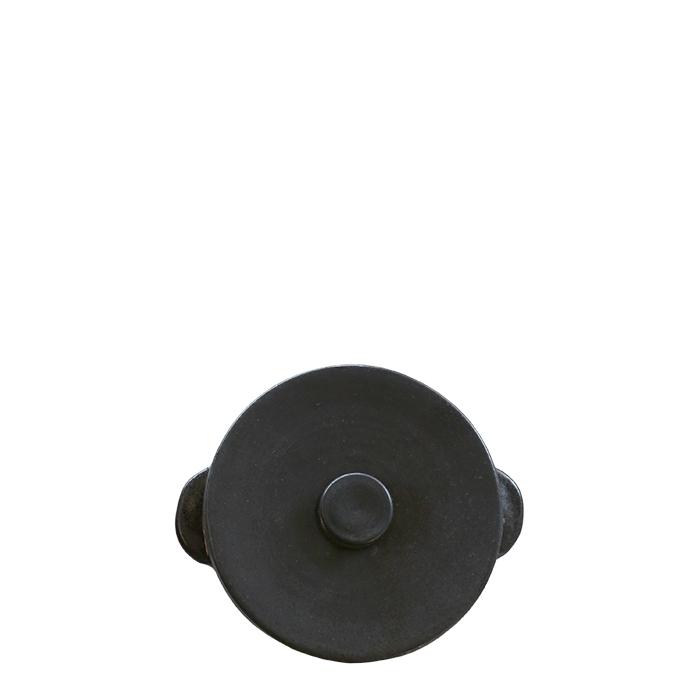 Cocotte tonda con coperchio in gres nero d14 h6.5 cm