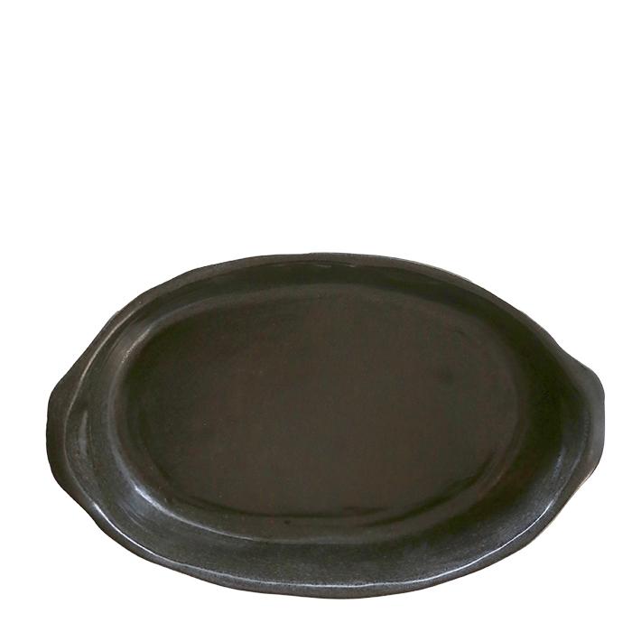 Teglia ovale in gres nero 17 x 27 h6 cm