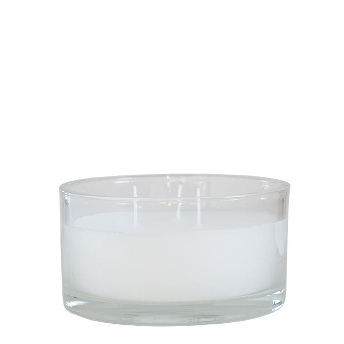 Petit vase en verre avec bougie blanche d14 h8 cm