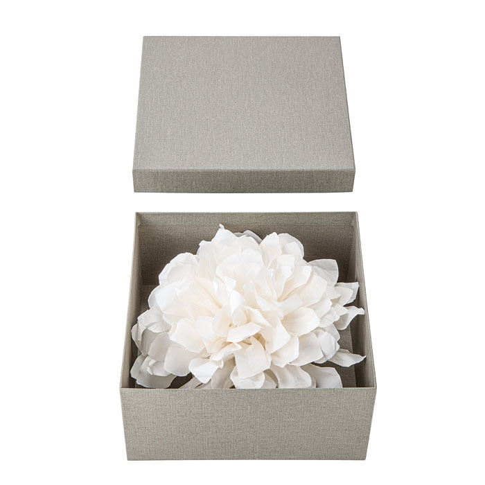 White paper flower in a paper box d20 cm