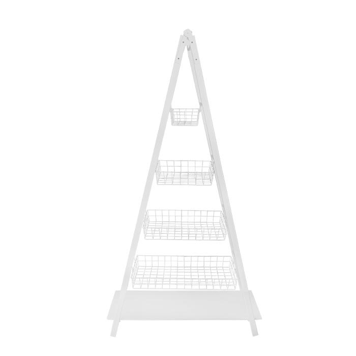 Scala ad albero in legno bianco 4 cesti bianchi 100 x 41 h188 cm